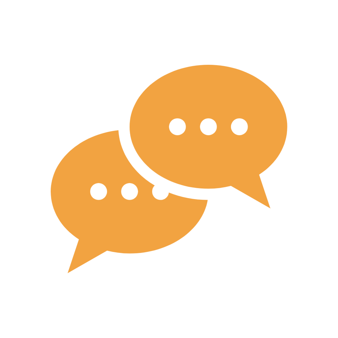 Graphic of two overlapping speech bubbles