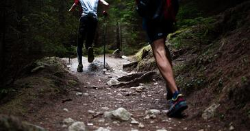 Image of two men running in a forest trail