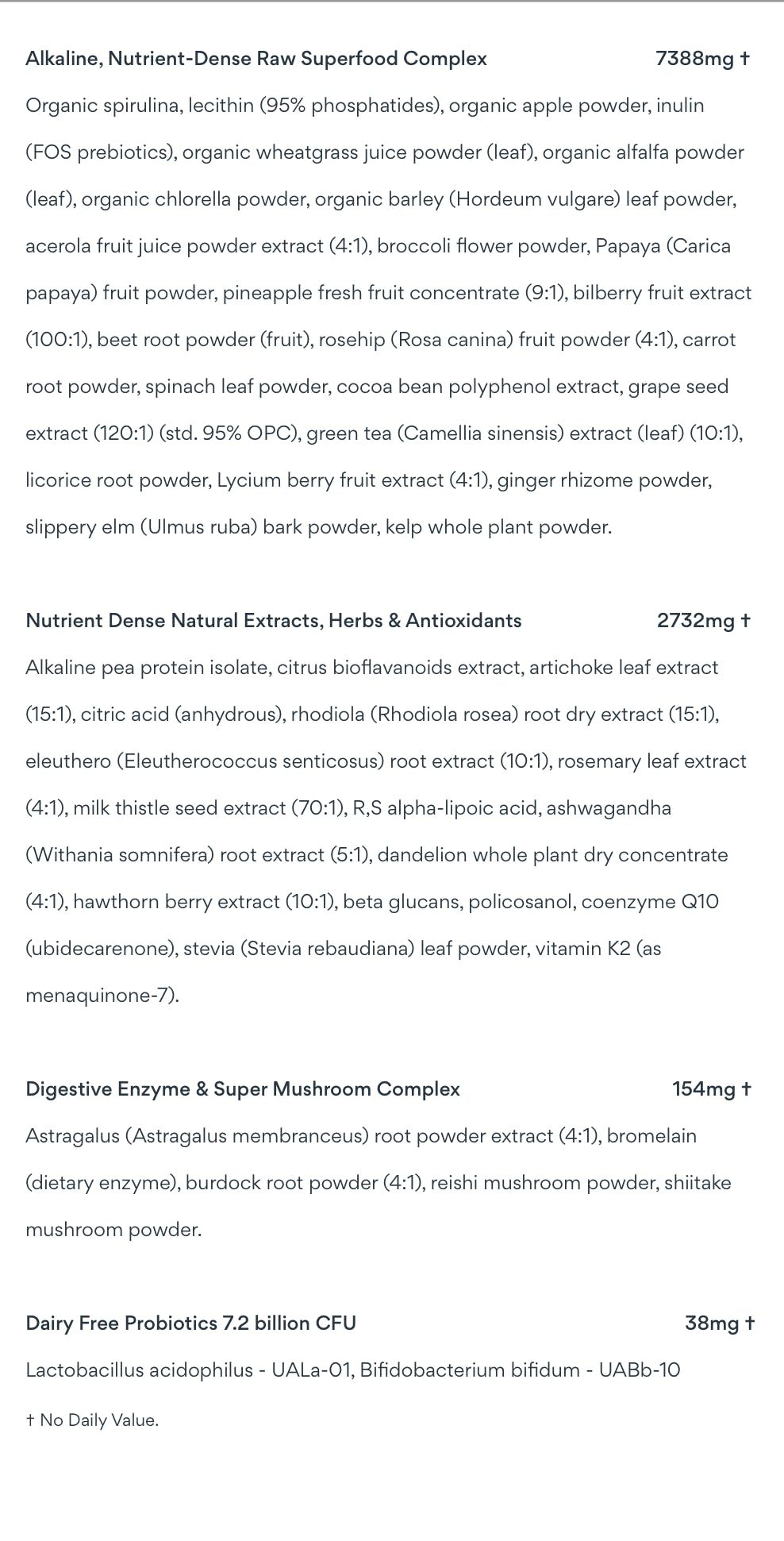 full ingredient list for athletic greens listed on previous image