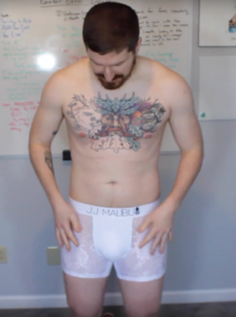 Photo of man in white lace boxer briefs