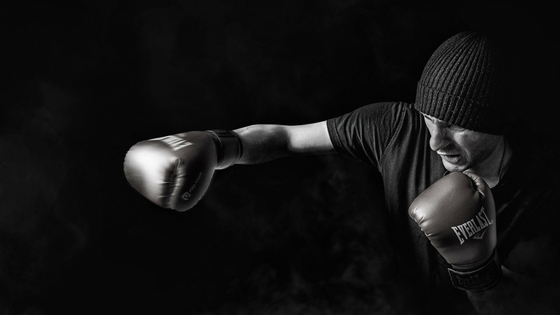 boxing black and white